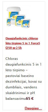 Daugiafunkcinis chloras lėto tirpimo 5 in 1 Force5 (250 gr.) 5k
